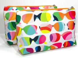 2pc Clinique Cosmetic Makeup Bags (Sunglass Pattern) Pink, White, Green,blue - $7.85