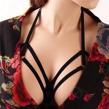 Women Harness Bra Elastic Strappy Hollow Out Bra Cupless Bra - $10.90