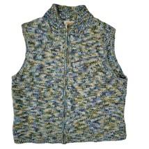 TALBOTS Womens L Knit Vest Violet Green Marled Waist Length Zip Up Acryl... - $27.18