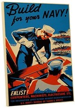 "Pingo World 0616QPY5KJG ""Build for Your Navy Vintage"" Advertising Poster Gallery - $47.47"