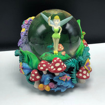 WALT DISNEY SNOWGLOBE snowdome water ball Tinker Bell music box Peter pan Fly - $277.20