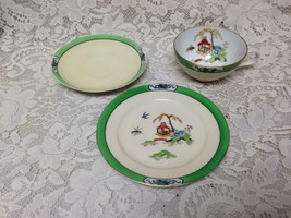 Antique Noritake-Moriyama Gaudy Blue Willow 6pc Trio Cups, Saucers, Brea... - $37.95