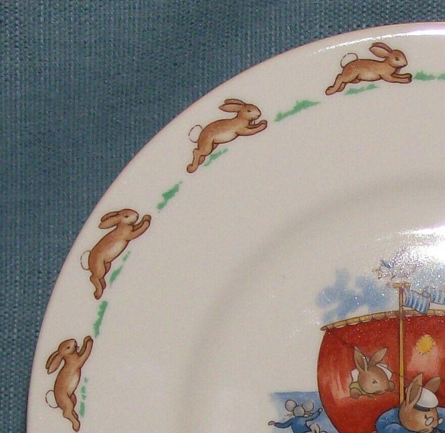 "Royal Doulton Bunnykins- 8"" Child Dinner Plate -Raft / Rafting Design SF111 -EUC image 3"