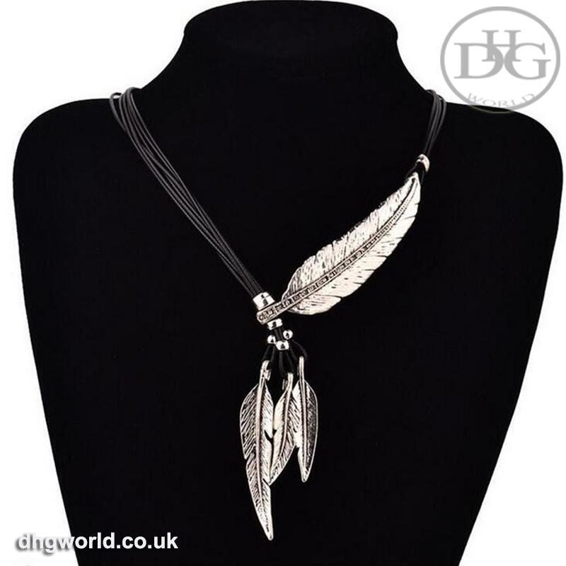 MEYFLINN Elegant Feathers Theme Ladies Necklace / Choker, Leather, CZ