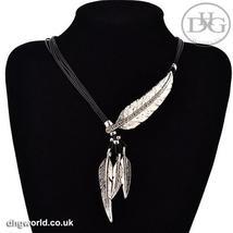 MEYFLINN Elegant Feathers Theme Ladies Necklace / Choker, Leather, CZ image 2