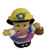 Fisher Price Little People Farmer Farm Girl Sonya Basket of Corn Seeds Pink - $3.95
