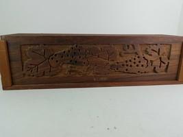 Mendocino Woods Hand Carved Wood Wine Box Slide Lid Grape Pattern - $288,40 MXN