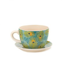 """*16839B  Peacock Feather Green Teacup Dolomite 9"""" Planter w/ Drain Hole - $23.55"""