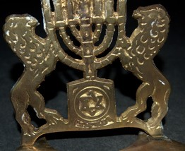 Judaica Candle Menorah Hanukkah Vintage Israel Lions Magen David 1960's Signed