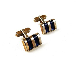 1960's Gold Tone & Blue Cufflnks By SWANK 91616 - $22.99