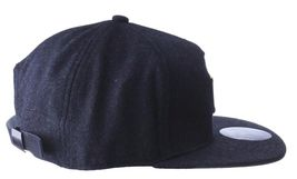 Official Crown Black Luxury Brushed Wool Stato Dorada Strapback Baseball Hat NWT image 3