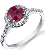14k White Gold Round Cut Ruby and White Topaz Halo Ring  - $399.99