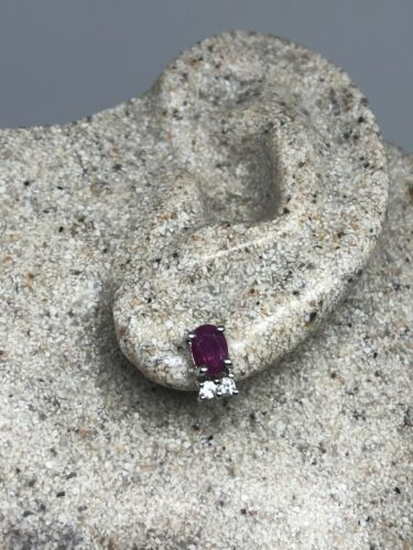 Primary image for Vintage Genuine Ruby White Sapphire 925 Sterling Silver Earrings