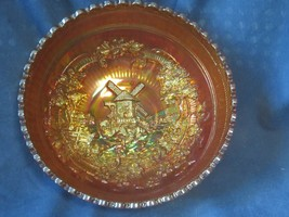 Imperial Glass Windmill Double Dutch Bowl Scalloped Edge Marigold Irides... - $17.82