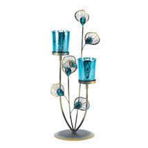 Peacock Plume Candleholder - $28.90