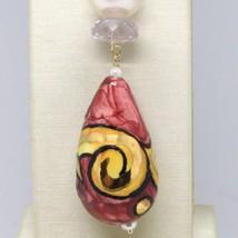 Pendentif en or Jaune 18K 750 avec Perle Améthyste Rose Céramique Made en Italie image 2