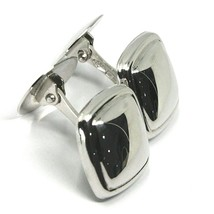 18K WHITE GOLD CUFFLINKS, ROUNDED SQUARE BUTTON, MADE IN ITALY image 2