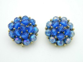 SELINI Blue Prystal Bead Beaded Cluster Gold Tone Vintage Clip On Earrings - $34.64