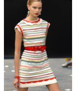 CHANEL White Red Multi Bow Belted Knit Sequined Stripped Dress Size FR 3... - $2,177.01