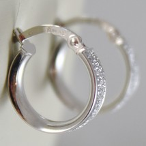 White Gold Earrings 750 18k a circle, diameter 1.4 CM, Glitter Effect image 2