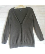 Bloomingdales Small Brown Cashmere Button Front Long Sleeve Cardigan Swe... - $18.56