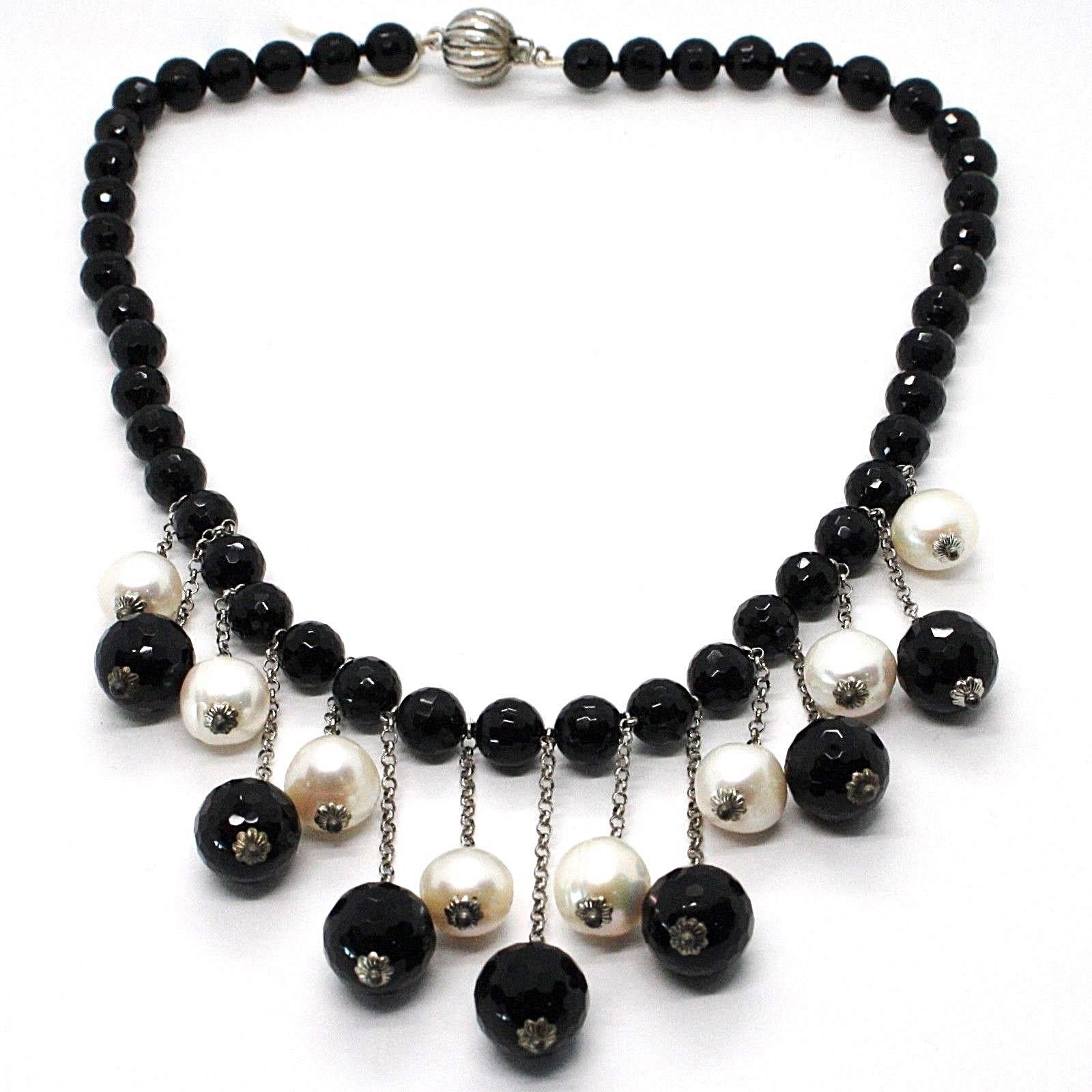 SILVER 925 NECKLACE, ONYX BLACK ROUND, WHITE PEARLS, FRINGE, CASCADE