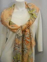 Cejon Women's Scarf Peach Floral Print Metallic Fringed Stole Shawl Wrap... - £9.21 GBP