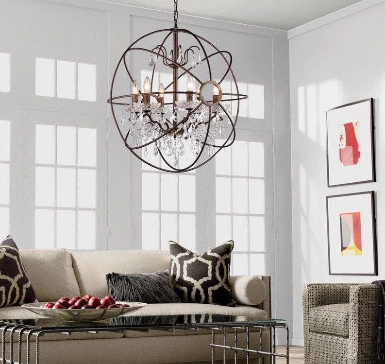 Primary image for NEW Modern 6 Light Orb Ball Crystal Bronze Globe Chandelier 32""