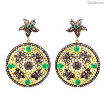 14k Gold 3.50 Ct Emerald Gemstone Diamond Pave Dangle Earrings Sterling ... - $696.25