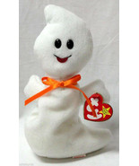 SPOOKY TY Beanie Baby GHOST Halloween orange bow - $9.00