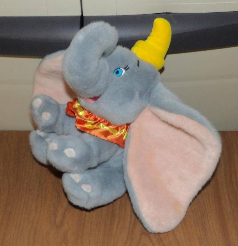 Primary image for Disney Store Plush DUMBO with Hat & Sateen Collar Weighted Gray Elephant