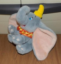 Disney Store Plush DUMBO with Hat & Sateen Collar Weighted Gray Elephant - $8.89