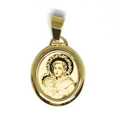 Pendant Medal Yellow Gold 750 18K, Saint Antonio da Padova, Jesus Child image 2