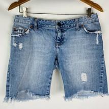 american eagle women's shorts size 4 light wash denim distressed - $17.09