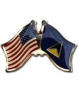 Wholesale Pack of 12 USA American St Lucia Friendship Flag Hat Cap lapel... - £18.20 GBP