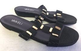 Vaneli Van Eli Blisse Black Embossed Gold Sandals Low Wedge Slides 6.5 N... - $29.99