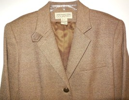 Jones New York Country Wool Blazer Jacket sz 8 with Leather Trim 3 Butto... - $24.00