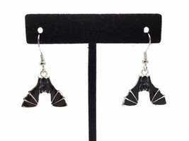 Black Hanging Bat Earrings, Bat Jewelry, Halloween Earrings, Handmade Ea... - $17.99