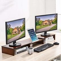 HUVIBE Bamboo Dual Monitor Stand Riser with Length and Angle Adjustable, 3 Shelf image 2