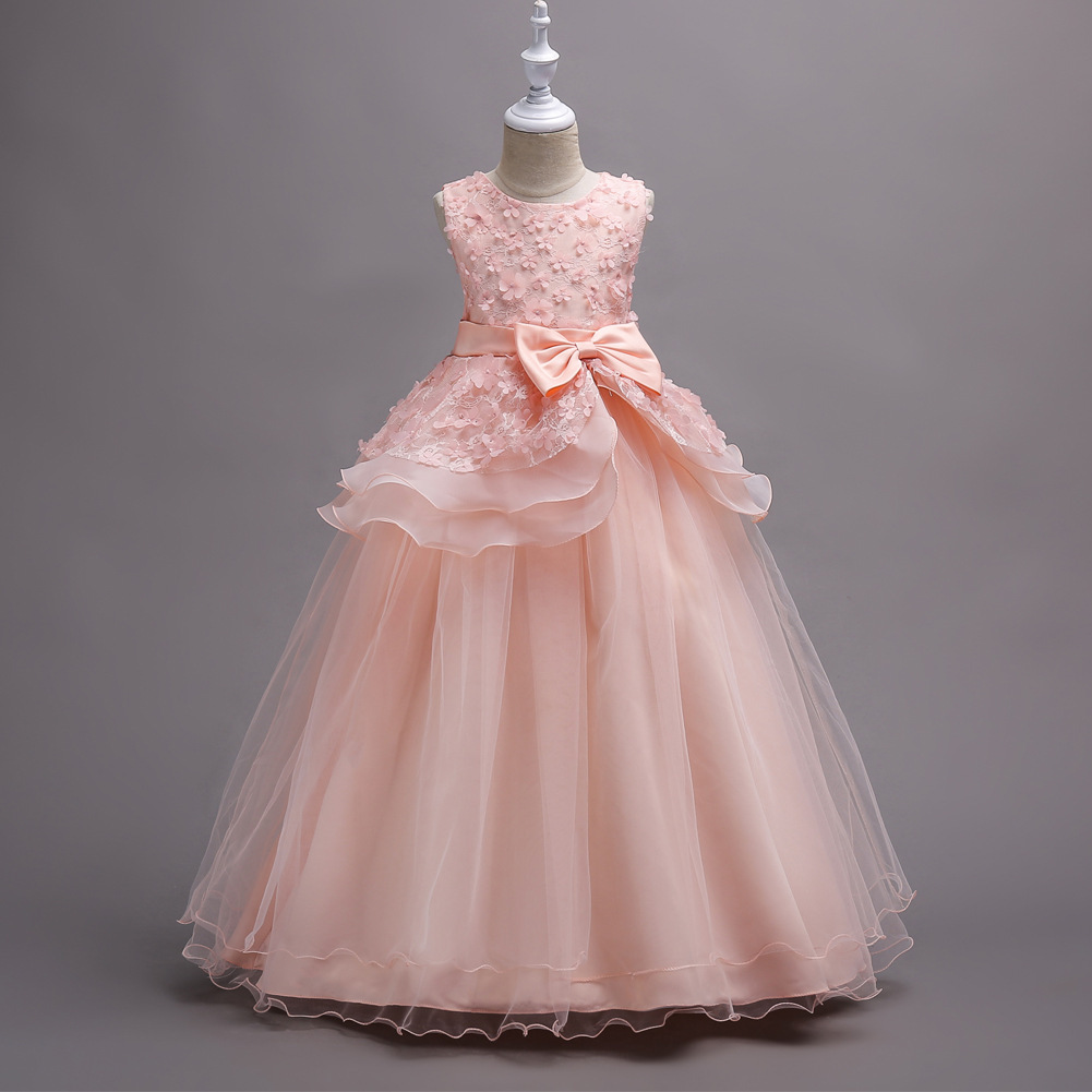 Off Shoulder Pink Floral Lace Flower Girls Dresses Pricess Party Gowns O-Neck