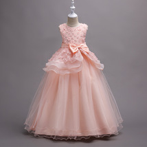 Off Shoulder Pink Floral Lace Flower Girls Dresses Pricess Party Gowns O-Neck  image 1