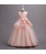 Off Shoulder Pink Floral Lace Flower Girls Dresses Pricess Party Gowns O... - $43.22