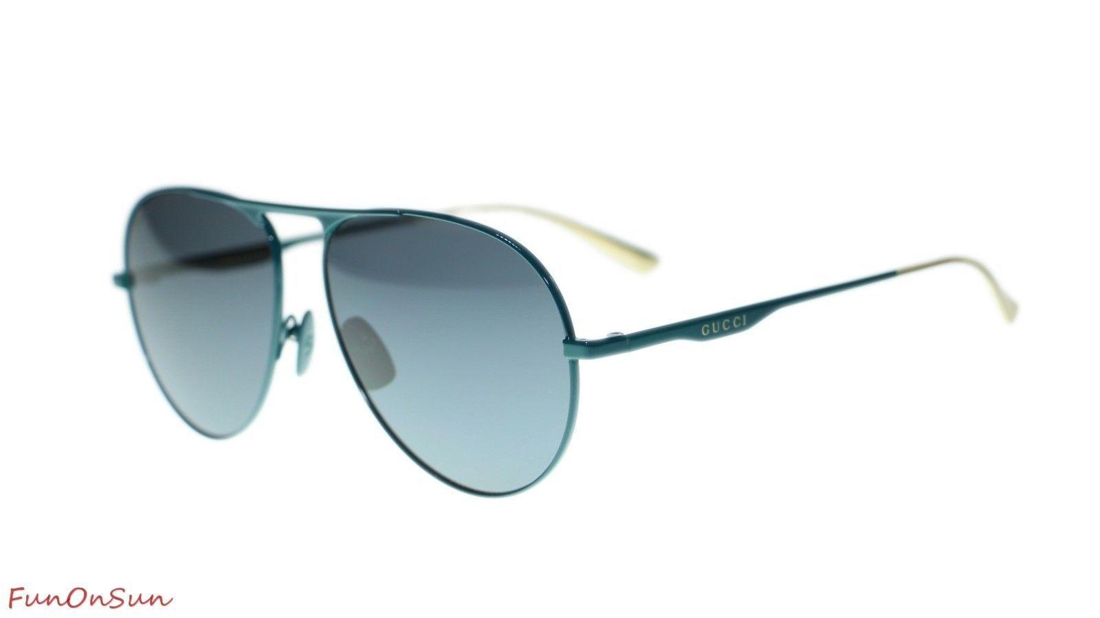 42d197295e372 10. 10. Previous. NEW Gucci Sunglasses GG0334S 003 Green Grey Lens Pilot  60mm Authentic. NEW Gucci Sunglasses ...