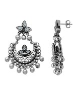 Crescent Moon Design Pearl Earring~925 Sterling Silver Jhumka Earring - $37.87