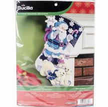 Bucilla Felt Stocking Kit Arctic Santa 18in embroidery XMAS Christmas polar bear - $22.99