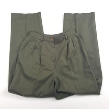 """Pendleton Womens Sz 8 Army Green 100% Wool Pleated Lined Dress Pants 27"""" Inseam - $9.49"""