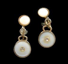 Mother Of Pearl Dangle Earrings Vintage Screw Backs Rhinestones Mop Buttons - $12.99