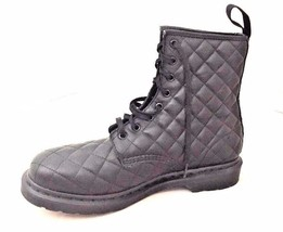 Dr. Martens Coralie Diamond Quilted Black Leather Boots Combat UK 9 US M... - $2.908,74 MXN