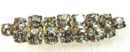 VTG Silver Tone Gold Wash Metal Clear Crystal  rhinestones Pin Brooch Bar  - $24.75