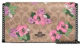 Coach Callie Foldover Chain Clutch In Signature Canvas With Blossom Print  - $158.39